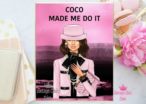 Coco Chanel Girl2 Pink Black Background-