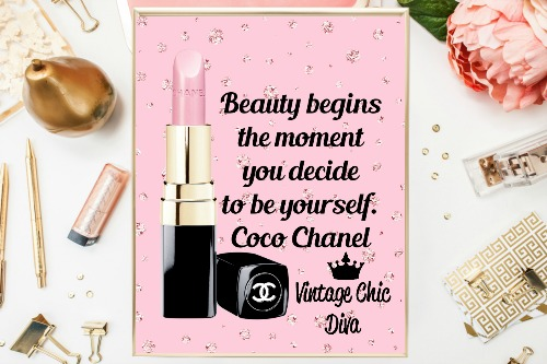Coco Chanel Quote17 Pink Diamonds Background-