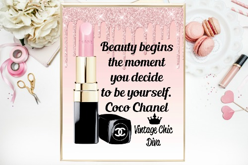Coco Chanel Quote17 Pink Glitter Drip Background-