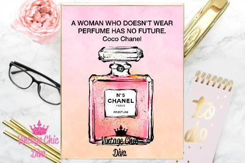 Coco Chanel Quote4 Pink Watercolor Background-