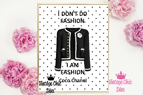Coco Chanel Quote5 Black White Dots Background-