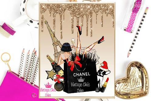 Eiffel Tower Chanel Gold Glitter Drip Background-