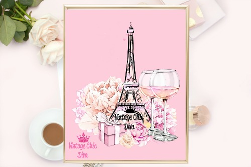 Eiffel Tower Pink Set Pink Background-