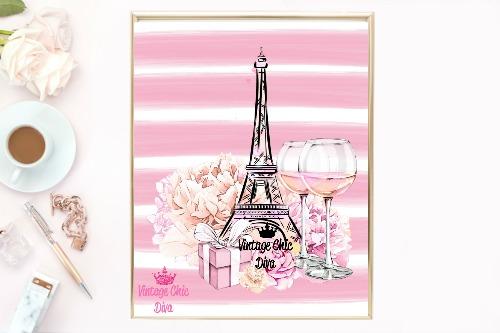 Eiffel Tower Pink Set Pink Stripe Background-