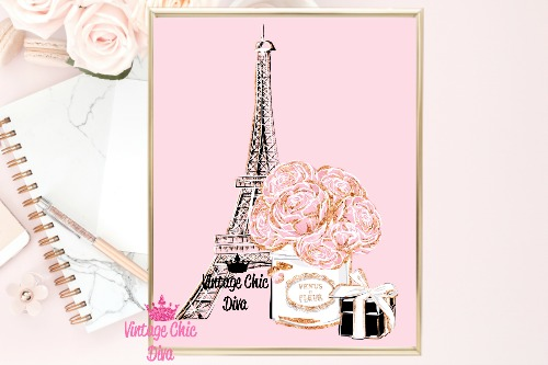 Eiffel Tower Set Pink Background-