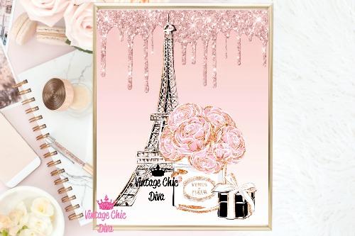 Eiffel Tower Set Pink Glitter Drip Background-
