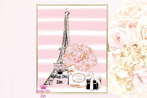 Eiffel Tower Set Pink White Stripe Background-