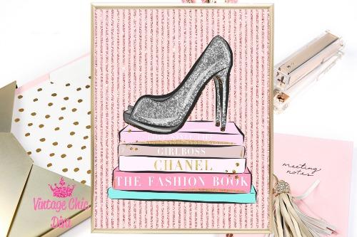 Fashion Books Blush Pink Glitter Background-