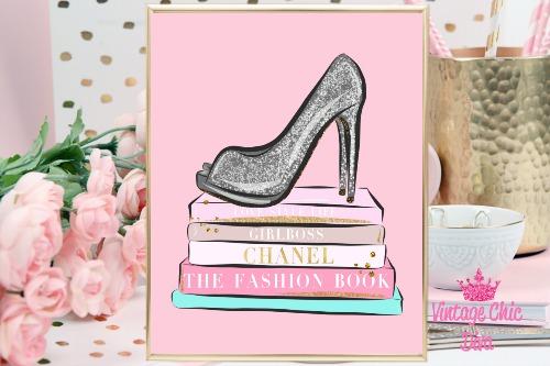 Fashion Books Pink Background-