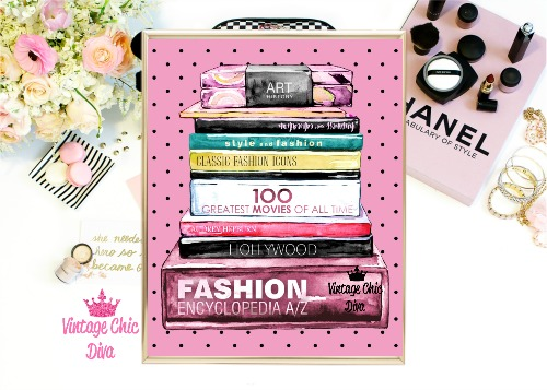 Fashion Books Pink Black Dots Background-