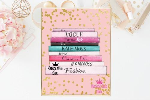 Fashion Books Pink Blush Gold Dots Background-