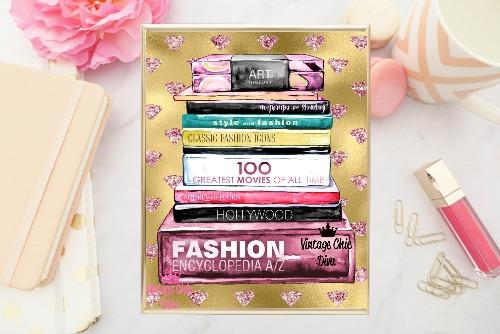 Fashion Books Pink Diamond Gold Background-