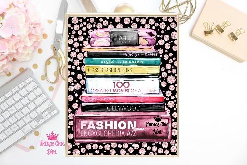 Fashion Books Pink Diamonds Black2 Background-