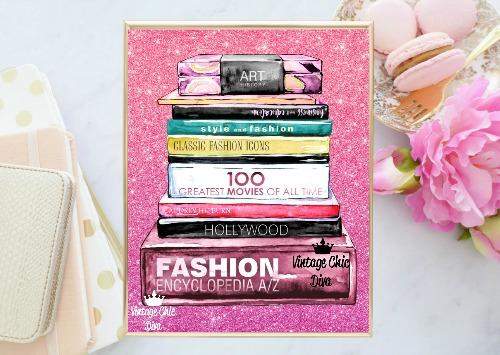 Fashion Books Pink Glitter Background-