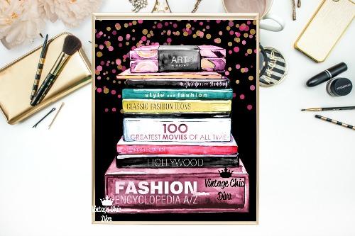 Fashion Books Pink Gold Dots Black Background-