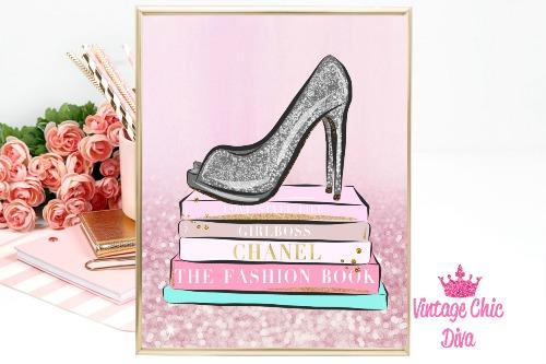 Fashion Books Pink Ombre Glitter Background-