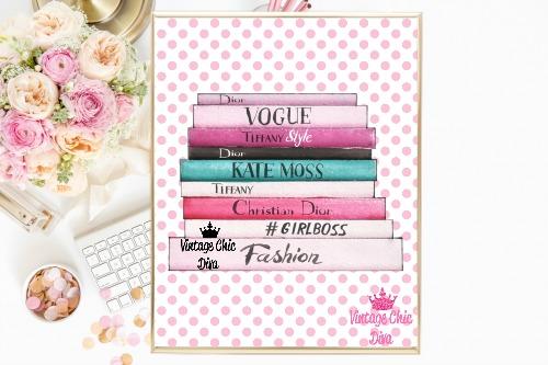 Fashion Books Pink Pink Dots White Background-