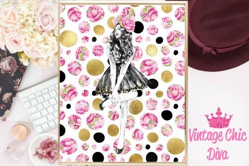 Fashion Girl Dark Hair Pink Gold Black Dots Background-