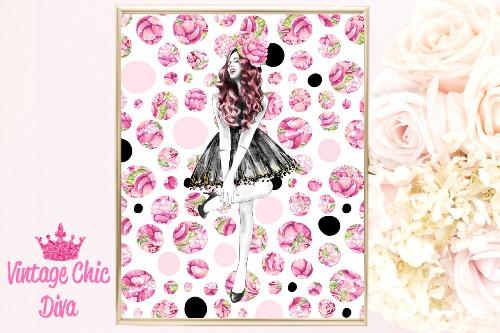 Fashion Girl Pink Hair Pink Dots Background-