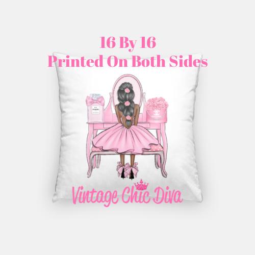 Flower Vanity Girl12 Pillow Case-