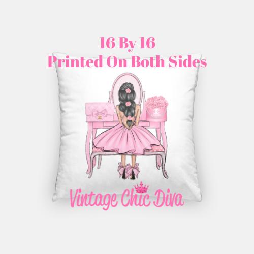 Flower Vanity Girl14 Pillow Case-
