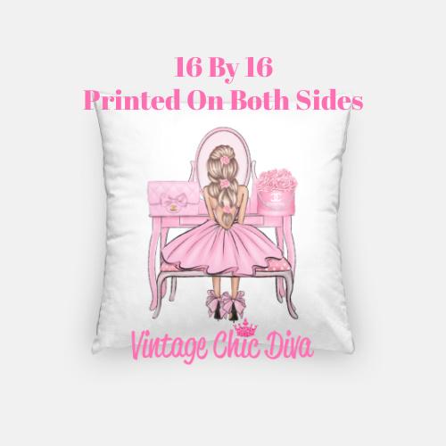 Flower Vanity Girl15 Pillow Case-