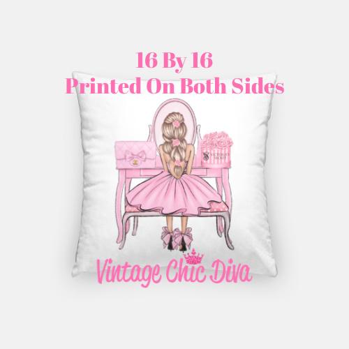 Flower Vanity Girl19 Pillow Case-