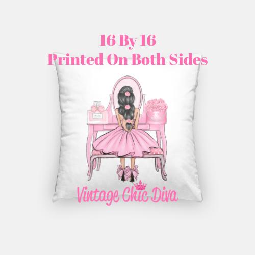 Flower Vanity Girl2 Pillow Case-