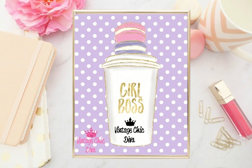 Girl Boss Cup Purple White Dots Background-