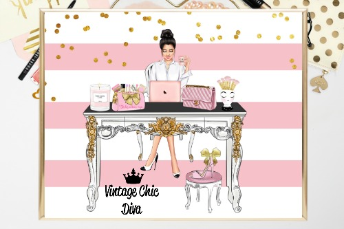 Girl Boss Set1 Pink White Gold Dots Background-