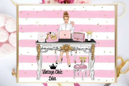 Girl Boss Set5 Pink White Gold Dots Background-