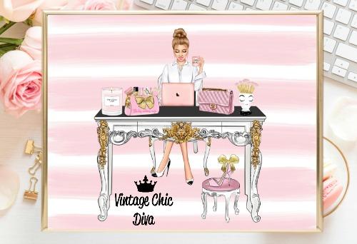 Girl Boss Set6 Pink White Stripe Background-