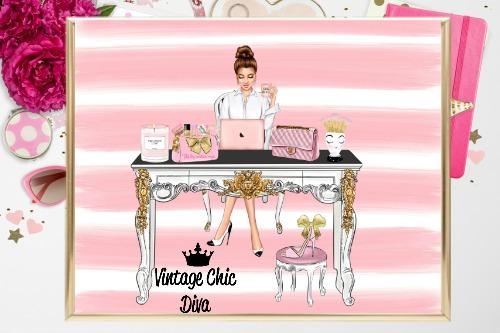 Girl Boss Set8 Pink White Stripe Background-