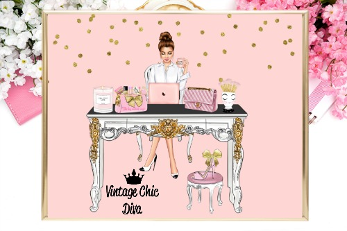 Girl Boss Set9 Pink Gold Dots Background-