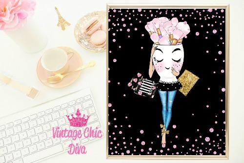 Glam Brush Girl Black Pink Diamonds Background-