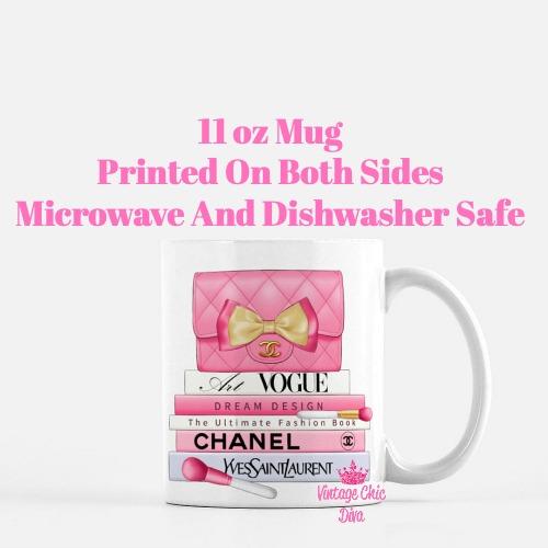 Hot Pink Chanel Handbag Fashion Book Set10 Coffee Mug-