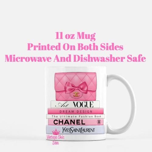 Hot Pink Chanel Handbag Fashion Book Set2 Coffee Mug-