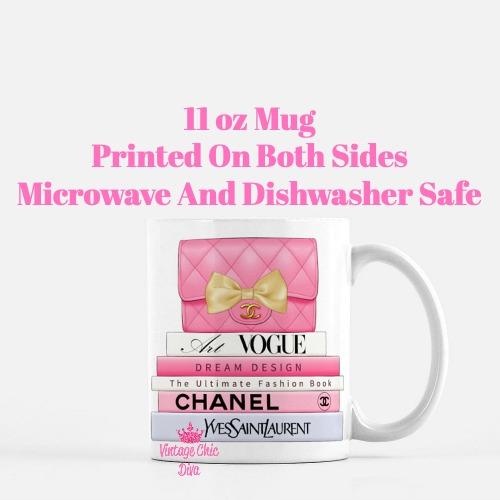 Hot Pink Chanel Handbag Fashion Book Set3 Coffee Mug-