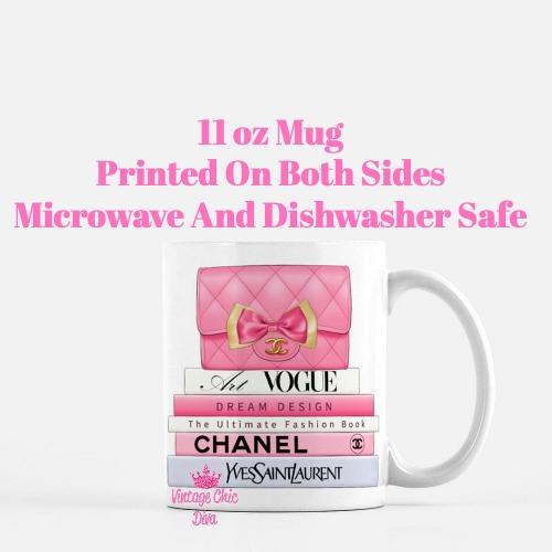 Hot Pink Chanel Handbag Fashion Book Set4 Coffee Mug-