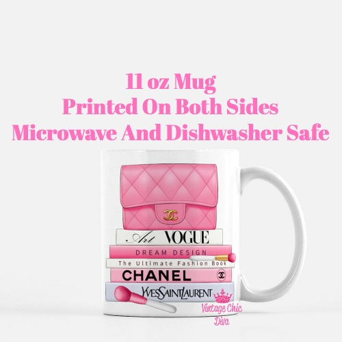 Hot Pink Chanel Handbag Fashion Book Set6 Coffee Mug-