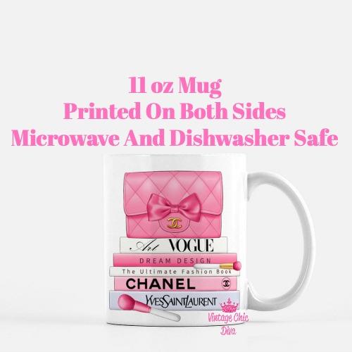 Hot Pink Chanel Handbag Fashion Book Set7 Coffee Mug-