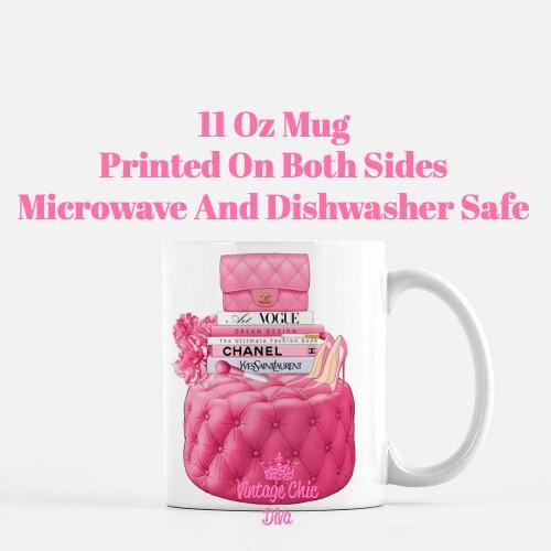 Hot Pink Chanel Handbag Stool Set1 Coffee Mug-