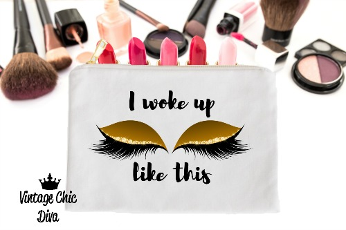I Woke Up Like This Gold Makeup Bag White-