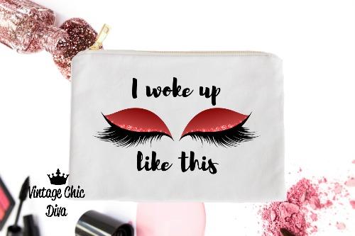 I Woke Up Like This Red Makeup Bag White-