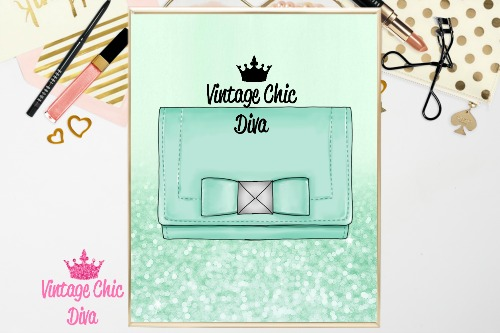 Kate Spade Purse10 Mint Ombre Glitter Background-