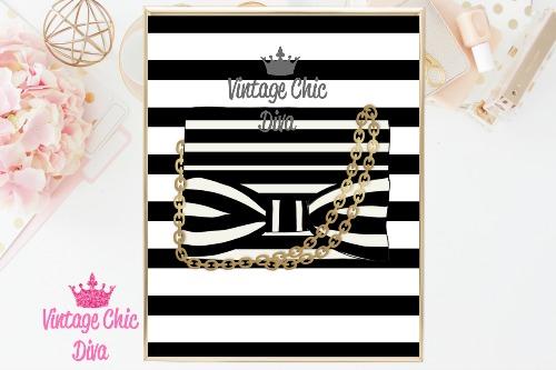 Kate Spade Purse7 Black White Stripe Background-