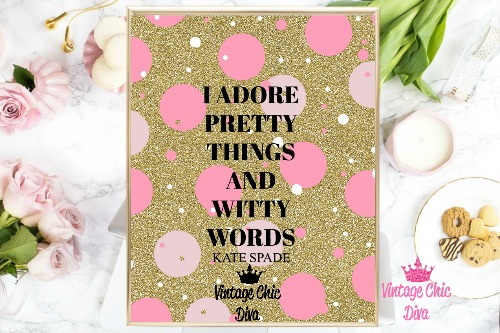 Kate Spade Quote2 Pink Dots Gold Background-