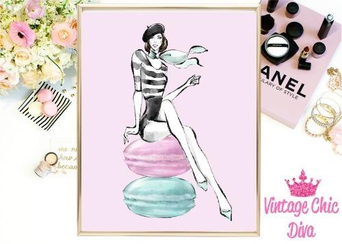 Laduree Paris Girl Macarons Pink Background-