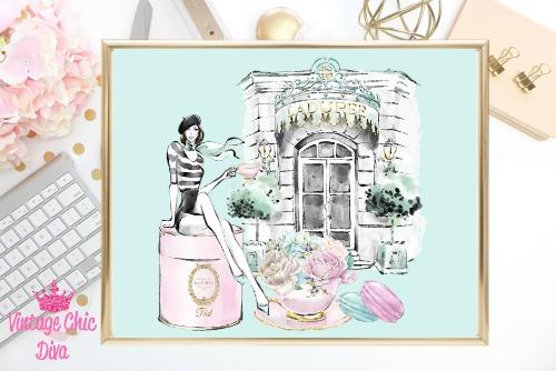 Laduree Paris Store Set Girl Green Background-