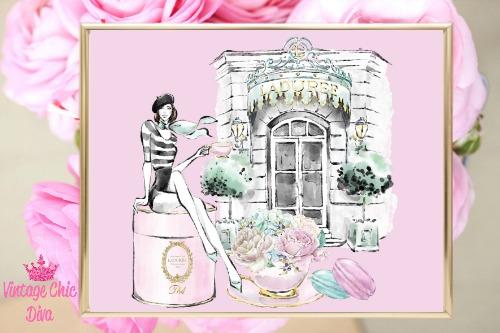 Laduree Paris Store Set Girl Pink Background-